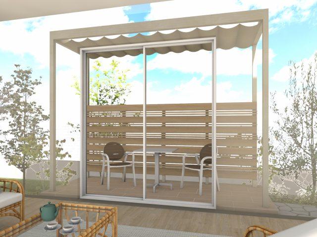 庭まわり(壁寄せ)フレームポーチプラン25  ー2間4尺サイズー