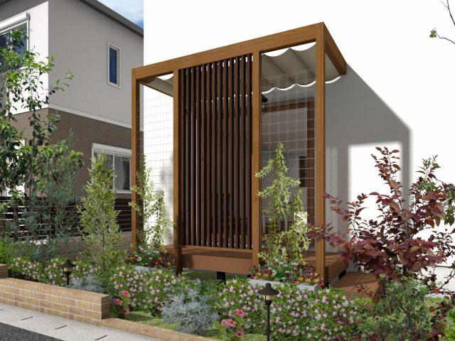 庭まわり(壁寄せ)フレームポーチプラン8 -1.5間4尺サイズ‐