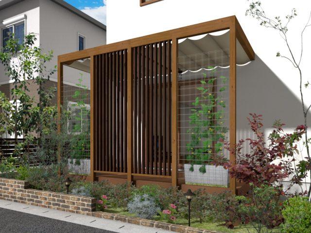 庭まわり(壁寄せ)フレームポーチプラン8 -2間6尺サイズ‐
