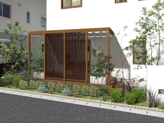 庭まわり(壁寄せ)フレームポーチプラン8