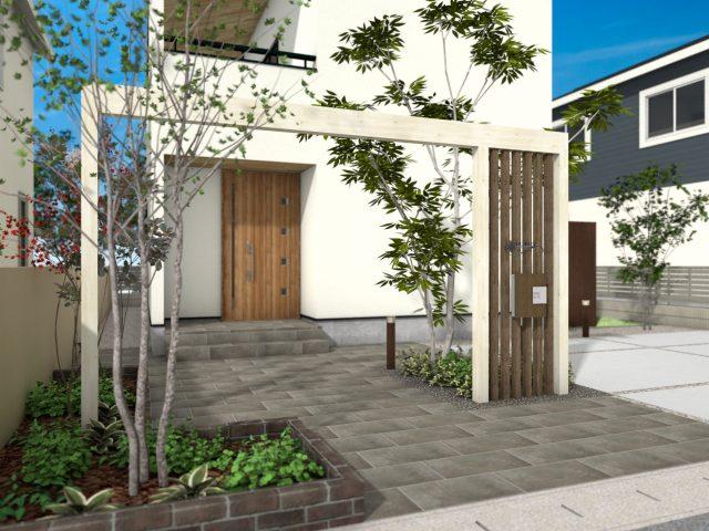 門まわり(フレーム付門柱) ホームヤードルーフプラン17-W40サイズ-